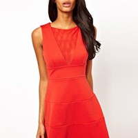 Fit and Flare Dress with Mesh Insert