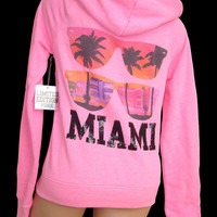 New Victoria's Secret LOVE PINK MIAMI Sequin Bling Limited Edition Hoodie S
