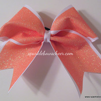 Glitter Orange Creamsicle Cheer Hair Bow by SparkleBowsCheer