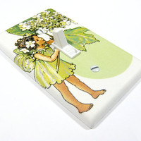 Flower Fairy Mint Green Light Switch Plate Cover by ModernSwitch