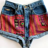 Retro Print Denim Shorts by shopABBEY on Etsy