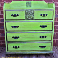 Green Antique Chest // Buffet // Furniture by AquaXpressions