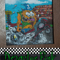 Original Painting on Canvas of a Dragster Fink