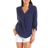 Crisscross Front Roll-Cuff Blouse: Charlotte Russe
