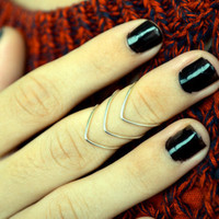 Knuckle Ring Chevron Joint Ring Silver Wire Wrap Stackable Boho Bohemian Hippie Eclectic Statement Jewelry Adjustable
