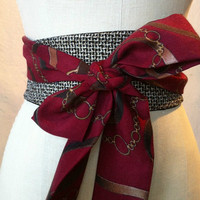 Obi sash belt Town and country black tweed maroon challis riding print waist cincher reversible