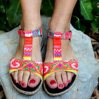 Hmong Embroidered Batik Bright Colorful T-Strap Vegan Womens Sandal