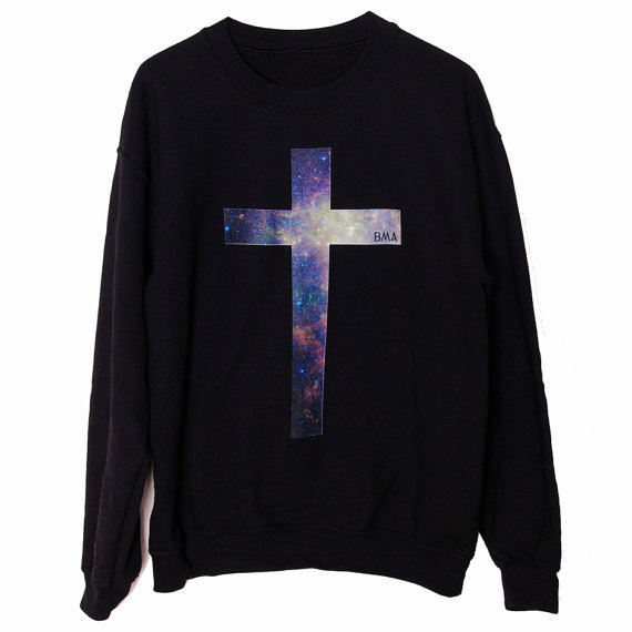 Crew Sweater // Galaxy Cross BMA Small by BMAMOD on Etsy