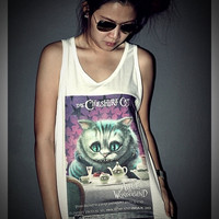 Alice In Wonderland Cheshire Cat Tank Top Shirt T-Shirt Women & Men Unisex Size M , L