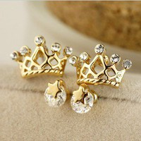 shining stars crown earrings set Ear stud gift-yellow