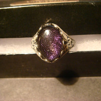 Victorian Style Dichroic Glass Antique Silver Ring- Adjustable (1028)