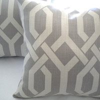 Grey trellis Decorative Pillow cover  18 x 18