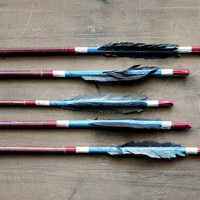 Steady, Aim, Fire - Vintage Arrows - Vintage Wooden Arrows - Feathers - Tribal - Blue - Red - Southwestern - Boho