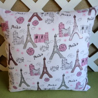 Dazzling Silver Sparkled Eiffel Tower Paris Pillow Cover Pink White