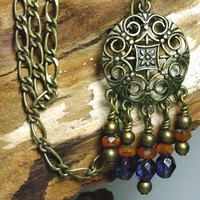 Gypsy Chandelier Pendant Necklace with Wire Wrapped Dangles of Faceted Tangerine and Deep Purple
