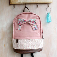 [grd03057]Fashion pink Lace Backpack with Red Floral Bow