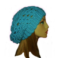 Slouchy Hat Beanie Teal Green Blue Slouch Women Teen Spring Crochet Slouch Hat