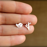 Bird and Tree Earring Studs in Matte Silver by saffronandsaege