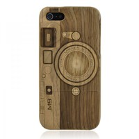 Carved Camera Walnut iPhone 5 Case