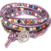 Purple Beaded Boho Bracelet Leather Wrap Five Wrap FizzCandy Ready to Ship