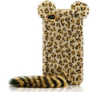 iPhone4S-4G Leopard Plush Tail Protective Back Cover - GULLEITRUSTMART.COM