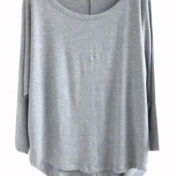 Gray Bat Sleeve Loose T-shirt S010507