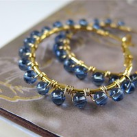 Understated Halo Beaded Hoop Earrings - Wire Wrapped In Cornflower Blue Glass (more Colors Available | Luulla