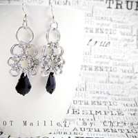 Earrings - Jet Black Swarovski Crystal in Japanese Lace - Chainmaille Chandelier