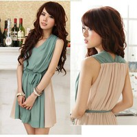 CHIFFON PATCHWORK LINED SLEEVELESS WOMEN DRESS XS/S GREEN