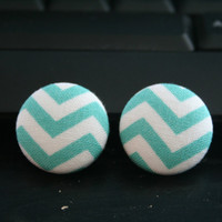 Aqua Chevron Studs