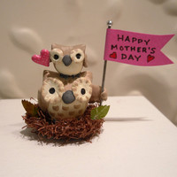 Mother&#x27;s Day Owls Big Little Sculpture by workofwhimsy on Etsy