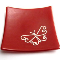 Butterfly Jewelry Plate, Red Ring Dish, Valentine Day, Ring Holder, Soap Dish, Candle Holder - Butterfly Passion - 242 -2