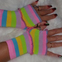 Short neon bright striped armwarmers handwarmers fingerless gloves