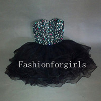 2013 Charming Sweetheart Mini Strapless Short Prom Dresses from fashionforgirls