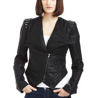 ideeli | CECICO Studded Shoulder Faux Leather Jacket