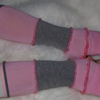 Armwarmers pink and grey striped
