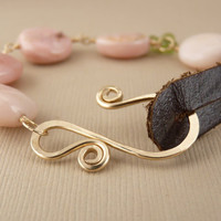 Pink opal, peridot, 14k gold fill and leather bracelet - pink opal bracelet - peridot bracelet - leather jewelry - pink jewelry - rustic
