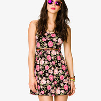 Rose Print Shirred Waist Dress w/ Belt | FOREVER 21 - 2036533154
