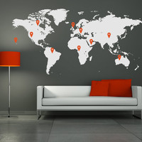 "Wall Decal Vinyl Sticker Home Decor Modern Art Mural "" World Map "" 45.3'' x 90.6"" plus 10 pins"