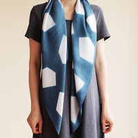 Naturally Dyed Bamboo Scarf - Geometric Indigo