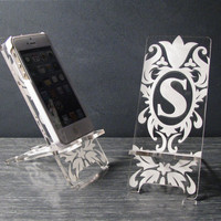 Personalized Initial Monogram Damask Alphabet iPhone 5 Phone Stand Docking Station