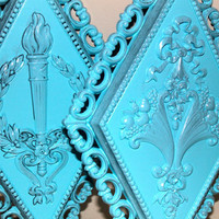 Victorian Wall Plaques // Blue Fixture Set // by AquaXpressions