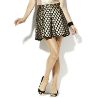 PLEATED DOT JACQUARD SKIRT