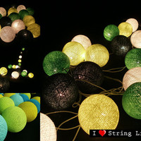 Green Set Cotton Ball String Lights For Wedding and House decoration (20 Flowers/Set)