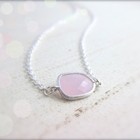 Rose Quartz Necklace - Pink stone pendant - Pendant Frame
