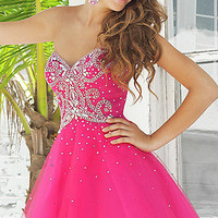Short Strapless Beaded Dress by Blush