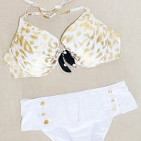 New Victoria&#x27;s Secret Leopard Push Up White Bikini Swimsuit 38D M