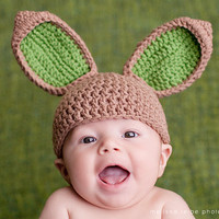 Crochet Spring Easter Bunny Ear Hat