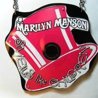"""Recycled Marilyn Manson """"Smells Like Children"""" Cd Necklace"""