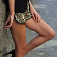 Gold Sequin Shorts with Black Trim Detail
